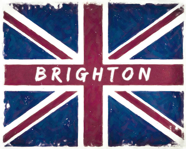 Digital Art - Brighton Distressed Union Jack Flag by Mark Tisdale