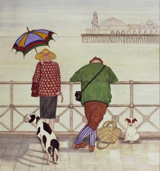 Courtship Photograph - Brighton Pier, 1986 Watercolour On Paper by Gillian Lawson