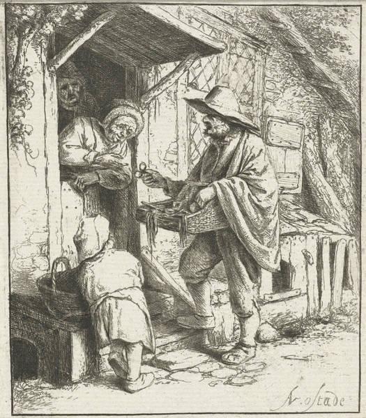 Interpret Drawing - Brill Seller And An Old Woman, Adriaen Van Ostade by Adriaen Van Ostade