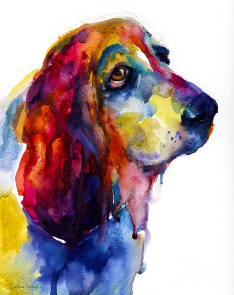 Art For Sale Online Painting - Brilliant Basset Hound Watercolor Painting by Svetlana Novikova