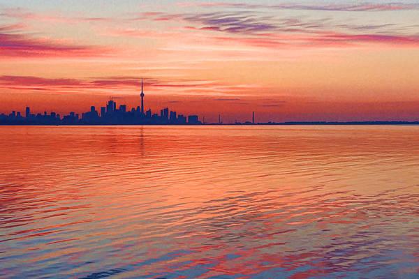 Digital Art - Brilliant Colorful Morning - Toronto Skyline Impressions by Georgia Mizuleva