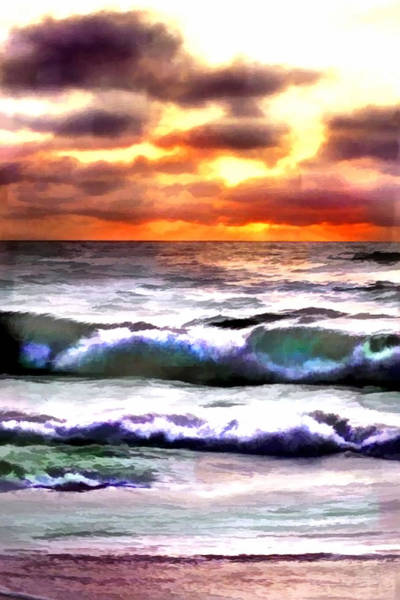Outer Banks Painting - Brilliant Nags Head Sunrise by Elaine Plesser