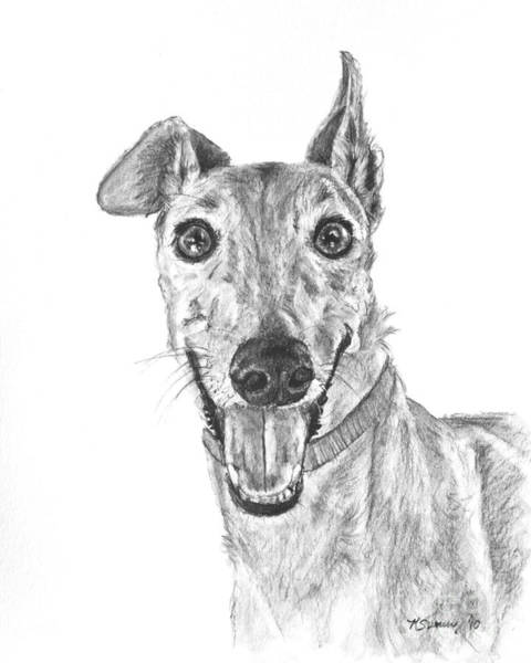 Art Print featuring the drawing Brindle Greyhound Close Up Portrait by Kate Sumners