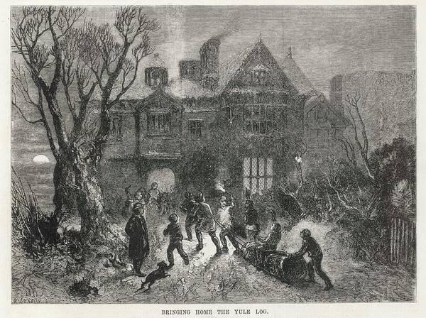 Log Drawing - Bringing Home The Yule Log by  Illustrated London News Ltd/Mar