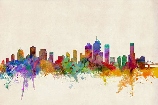 Queensland Digital Art - Brisbane Australia Skyline by Michael Tompsett