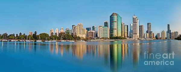 Light Blue Photograph - Brisbane City Reflections by Az Jackson