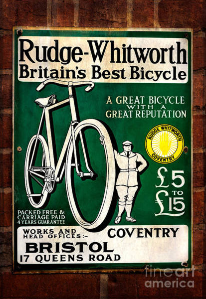 Memorabilia Wall Art - Photograph - Britains Best Bicycle by Adrian Evans