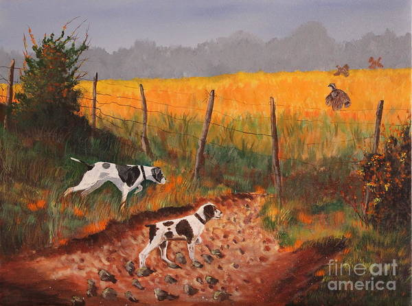 Field Spaniel Painting - Britany And Spears by Bob Williams