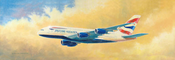 Painting - British Airways A380 by Douglas Castleman