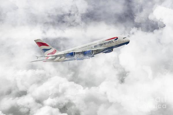 Airbus A380 Wall Art - Digital Art - British Airways A380 by J Biggadike