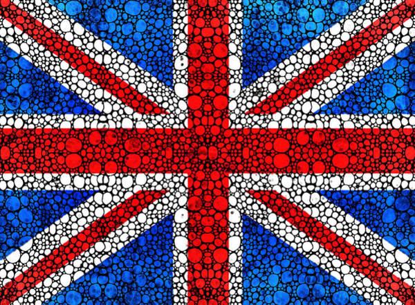 Painting - British Flag - Britain England Stone Rock'd Art by Sharon Cummings