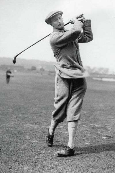Golf Club Photograph - British Golfer Sir Ernest Holderness Swinging by Artist Unknown