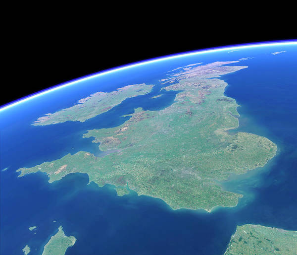 Northern Ireland Photograph - British Isles From Space by Planetary Visions Ltd/science Photo Library