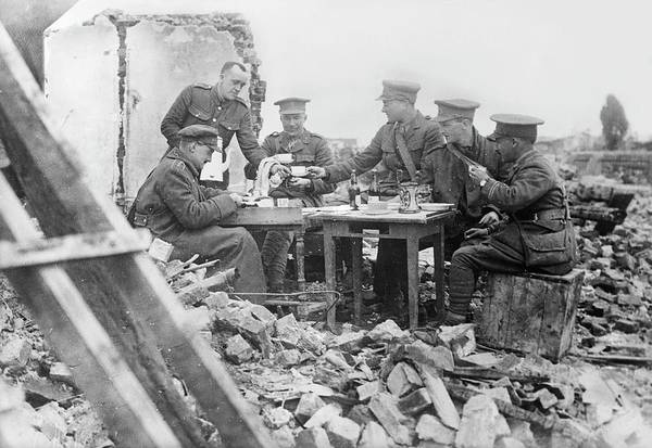 First Officer Photograph - British Officers At Lunch by Library Of Congress