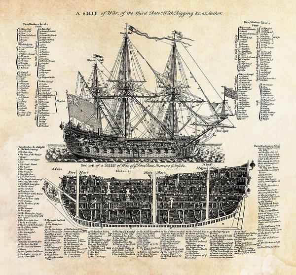 Wall Art - Digital Art - British Ships Of War  1728 by Daniel Hagerman