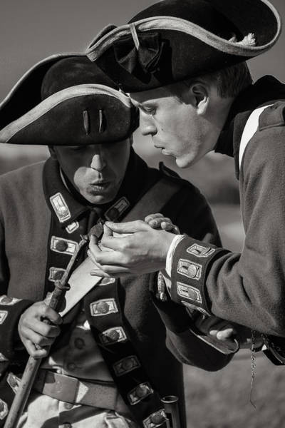 Michilimackinac Wall Art - Photograph - British Soldiers Prepare Mono by Rachel Cohen