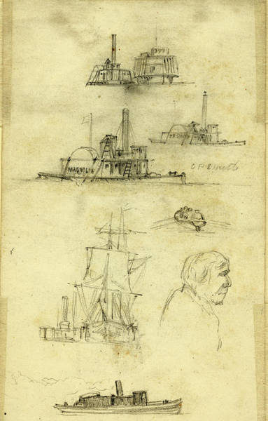 Wall Art - Drawing - Broadside And Bow Views Of Eight Ships And Boats by Quint Lox