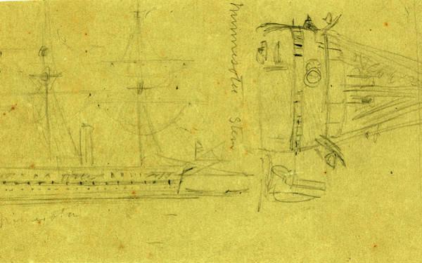 Wall Art - Drawing - Broadside And Stern Views Of Steamship Minnesota by Quint Lox