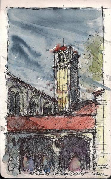 Pen And Ink Mixed Media - Broadway Church Of Christ Study by Tim Oliver