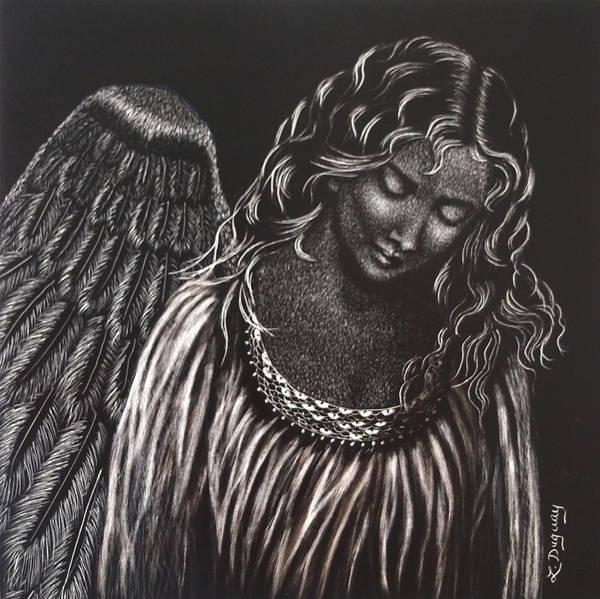 Scratchboard Drawing - Broken Angel by Lora Duguay