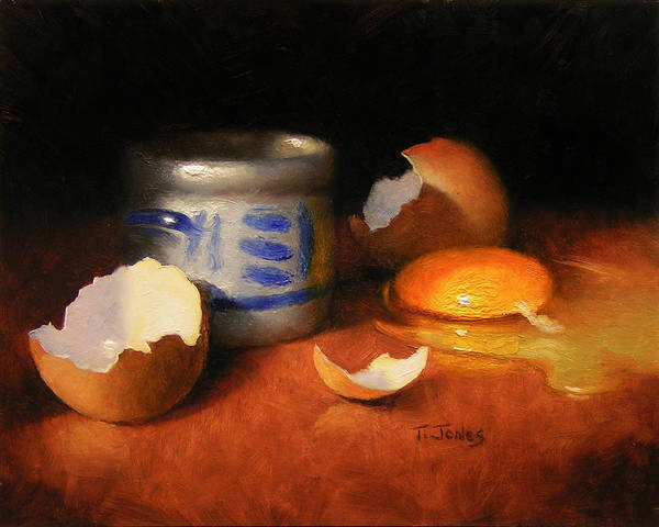Wall Art - Painting - Broken Egg And Ceramic by Timothy Jones