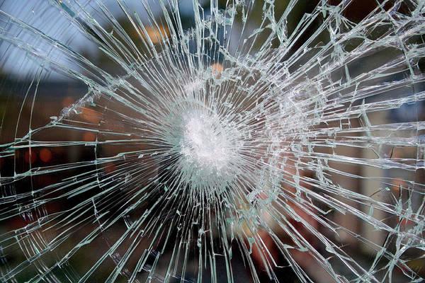 Window Pane Photograph - Broken Glass by Chris Martin-bahr/science Photo Library