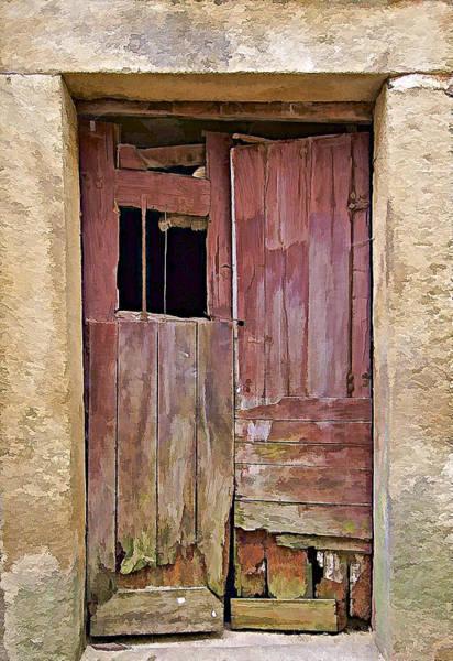 Broken Red Wood Door Art Print