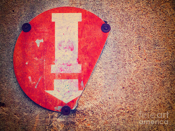 Photograph - Broken Round Sign With Arrow by Silvia Ganora