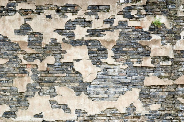 Photograph - Broken Stucco And Stone Wall. Wuzhen. China. by Rob Huntley