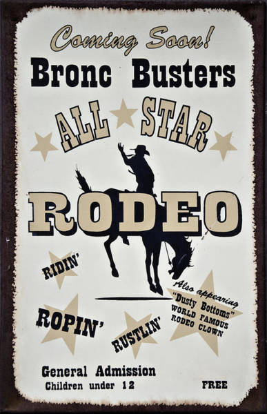 Tin Sign Photograph - Bronc Busters by Ricky Barnard