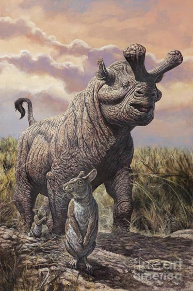 Haring Digital Art - Brontops And Palaeolagus Rabbit by Mark Hallett