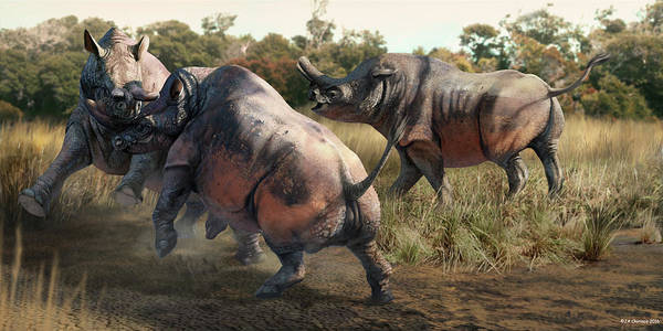 Wall Art - Photograph - Brontotherium Prehistoric Mammals by Jaime Chirinos/science Photo Library
