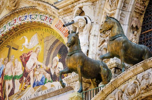 St Mark's Basilica Photograph - Bronze Horses And Mosaic At Basilica by Russ Bishop