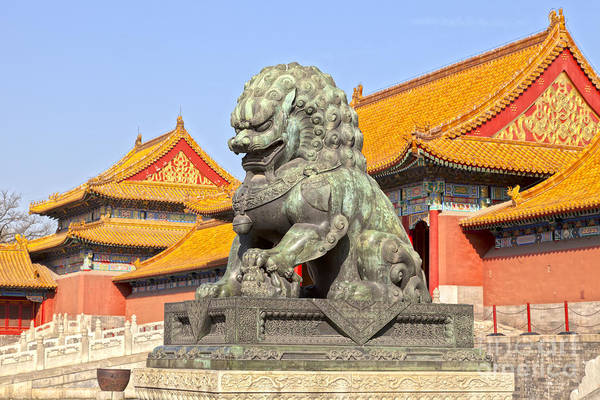 Forbidden City Photograph - Bronze Lioness Forbidden City Beijing by Colin and Linda McKie
