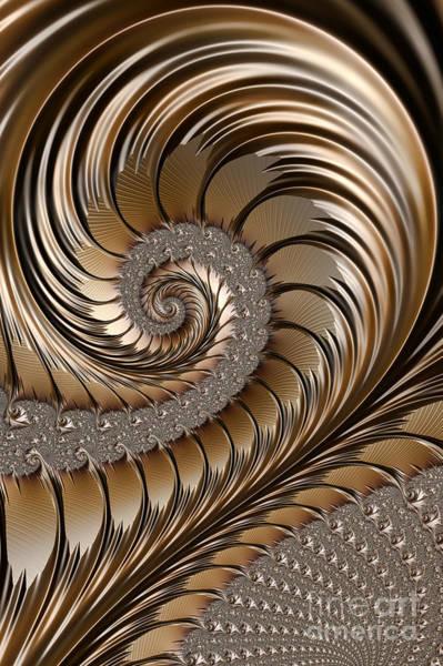 Dynamic Digital Art - Bronze Scrolls Abstract by John Edwards