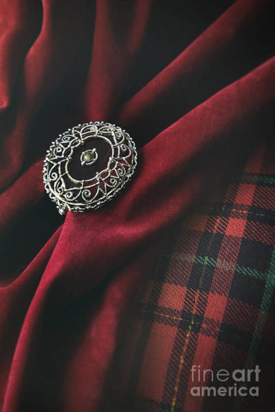 Brooch With Red Velvet And Green Plaid Art Print
