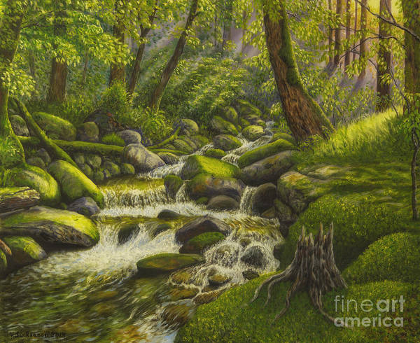 Mossy Wall Art - Painting - Brook In The Forest by Veikko Suikkanen