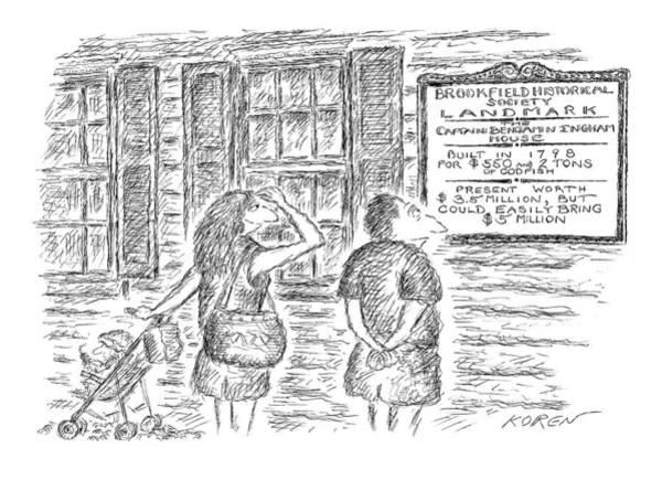 5 Drawing - Brookfield Historical Society Landmark The by Edward Koren