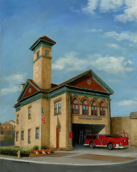 Wall Art - Painting - Brookline Historical Engine House by Cecilia Brendel