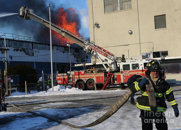 Photograph - Brooklyn 7 Alarm Fire by Steven Spak