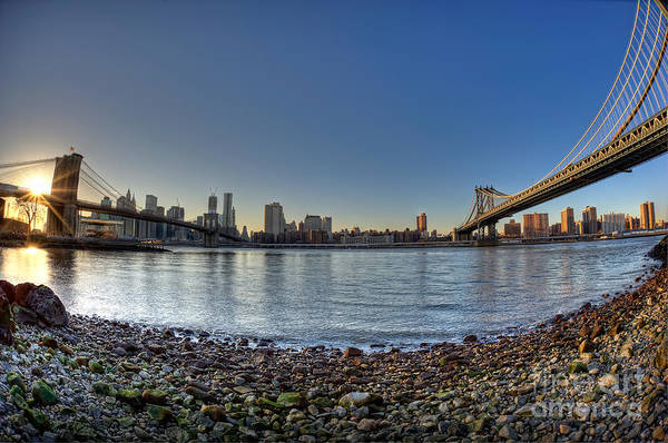 Fisheye Photograph - Brooklyn And Manhattan Bridge Fisheye by Michael Ver Sprill