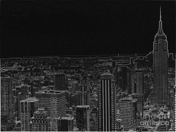 The Empire State Building Digital Art - Brooklyn And Manhattan In Black by Meandering Photography