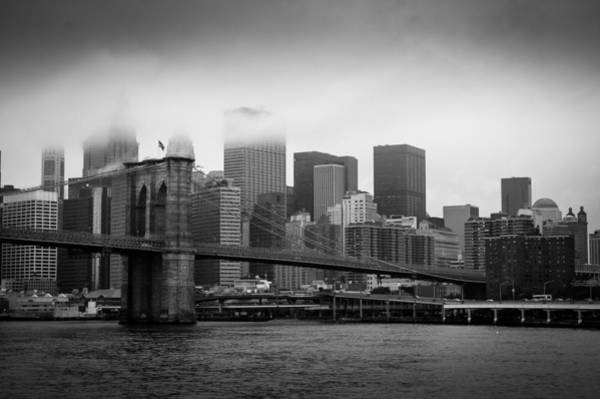 Photograph - Brooklyn Bridge - Lower Manhattan Bw by Frank Mari