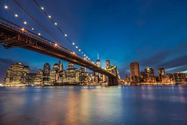 Nightscape Photograph - Brooklyn Bridge - Manhattan Skyline by Larry Marshall