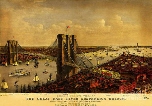 Currier And Ives Painting - Brooklyn Bridge 1885 by Celestial Images