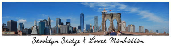 Photograph - Brooklyn Bridge And Lower Manhattan Script by Paulette B Wright