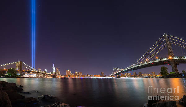 Nine Eleven Photograph - Brooklyn Bridge And Manhattan Bridge Pano by Michael Ver Sprill