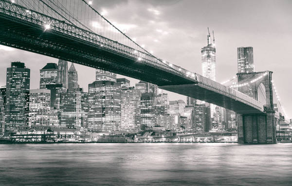 Wall Art - Photograph - Brooklyn Bridge And New York City Skyline At Night by Vivienne Gucwa