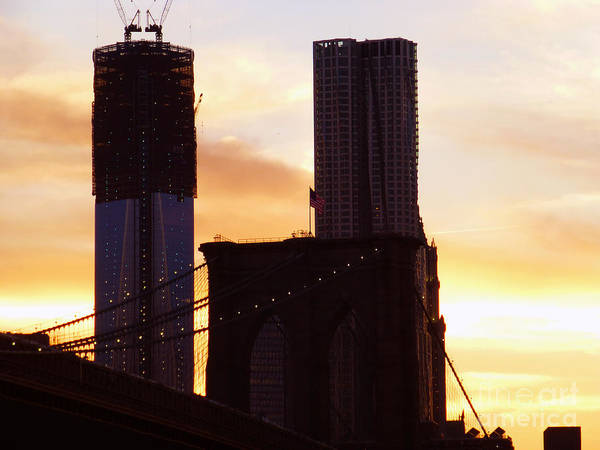 Photograph - Brooklyn Bridge And One Wtc Sunset by Steven Spak
