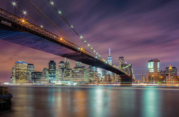 Times Square Photograph - Brooklyn Bridge At Night by Michael Zheng